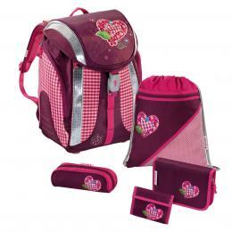 Detail produktu - Školní batoh - 5-dílný set, Flexline Srdce, certifikát AGR