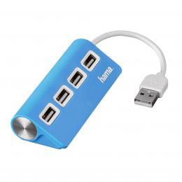 Detail produktu - Hama USB 2.0 Hub 1 4, napájení USB, modrý