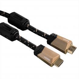 Hama HDMI kabel vidlice-vidlice, 5 m, pozlacený, ferity, kovové vidlice, opletený, 5