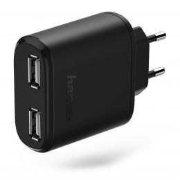 Detail produktu - Hama dvojitá síťová USB nabíječka AutoDetect, 4,8 A