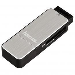 Detail produktu - Hama čtečka karet USB 3.0 SD/microSD, stříbrná