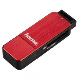 Detail produktu - Hama čtečka karet USB 3.0 SD/microSD, červená