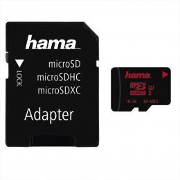 Hama microSDHC 16 GB UHS Speed Class 3 UHS-I 80 MB/s   adaptér