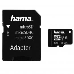 Detail produktu - Hama microSDHC 16 GB Class 10 UHS-I 80 MB/s   Adapter/Mobile