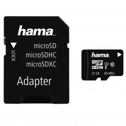 Hama microSDHC 32 GB Class 10 UHS-I 80 MB/s   Adapter/Mobile