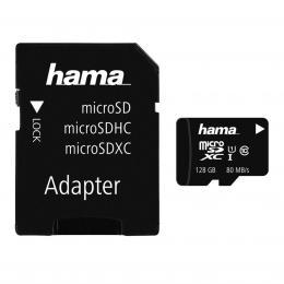 Hama microSDXC 128 GB Class 10 UHS-I 80 MB/s   Adapter/Mobile