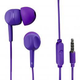 Detail produktu - Thomson sluchátka s mikrofonem EAR3005, silikonové špunty, fialová