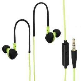 Hama sluchátka s mikrofonem RUN, silikonové špunty, klip, zelená/èerná