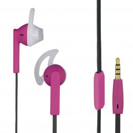 Hama sluchátka s mikrofonem Joy Sport, silikonové špunty, rùžová/šedá