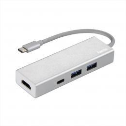 Hama USB-C 3.1 hub Aluminium, 2x USB-A, USB-C, HDMI