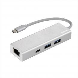 Hama USB-C 3.1 hub Aluminium, 2x USB-A, USB-C, LAN (Ethernet)