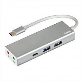 Hama USB-C 3.1 hub Aluminium, 2x USB-A, USB-C, 3,5 mm audio