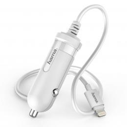 Hama nabíjeèka do vozidla, kabel Apple Lightning, MFI, 1 A, bílá