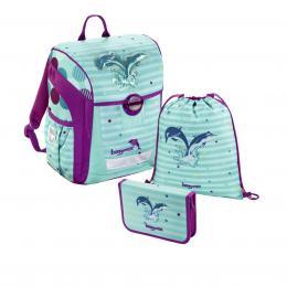 Školní aktovka - 3-dílný set, Baggymax Trikky Delfíni, hmotnost pouze 0,65 kg