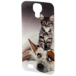 PHONEFASHION Pes a koèka 3D obrázek pro kryt Clear pro Samsung Galaxy S4
