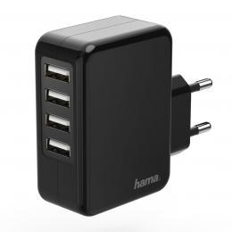 Hama sí�ová USB nabíjeèka, 4zásuvková, 4,8 A