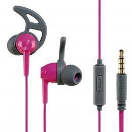 Hama sluchátka s mikrofonem Action, silikonové špunty, rùžová/šedá