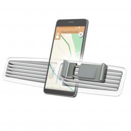 Detail produktu - Hama Flipper, univerzální držák mobilu ve vozidle, pro šířku 6-8 cm, hliníkový, šedý