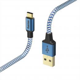 Hama kabel Reflective USB-C 2.0 typ A - typ C, 1,5 m, modrá