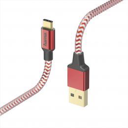 Hama kabel Reflective USB-C 2.0 typ A - typ C, 1,5 m, èervená