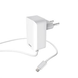 Hama sí�ová nabíjeèka s kabelem, Apple Lightning, MFI, 2,4 A, bílá