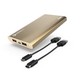 Hama Premium Alu, powerbanka, 12000 mAh, Qualcomm® Quick Charge™ 3.0, zlatá