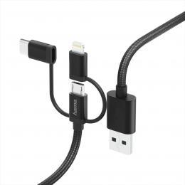 Hama USB kabel 3v1, micro USB / USB-C / Lightning, 1,5 m