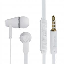 Hama sluchátka s mikrofonem Joy, špunty, regulace hlasitosti, bílá