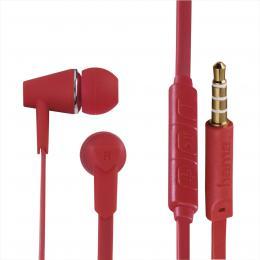 Hama sluchátka s mikrofonem Joy, špunty, regulace hlasitosti, èervená