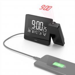 Hama Plus Charge, budík s projekcí èasu a USB konektorem pro nabíjení mobilu - zvìtšit obrázek