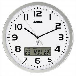 Hama Extra, nástìnné hodiny øízené rádiovým signálem, s datem a teplotou - zvìtšit obrázek