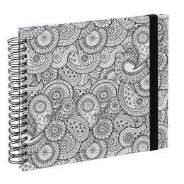 Hama album klasické spirálové COLORARE 28x24 cm, 50 stran, Paisley, bílé listy