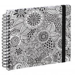Hama album klasické spirálové COLORARE 28x24 cm, 50 stran, flowers, bílé listy