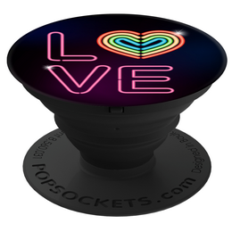 PopSockets Original PopGrip, Neon Love, s neonovým nápisem LOVE