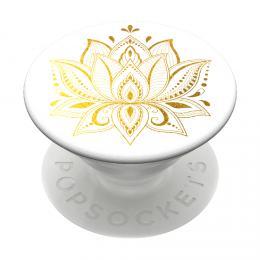 PopSockets PopGrip Gen.2, Golden Prana, zlatý lotosový kvìt na bílém podkladu - zvìtšit obrázek