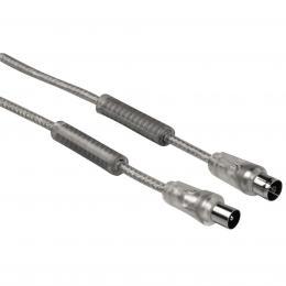 Detail produktu - Hama anténní kabel 90dB, stříbrný, feritové filtry, 5m