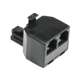 Detail produktu - Hama rozdvojka telefonního kabelu, vidlice - 2 zdířky, 6p4c, černá