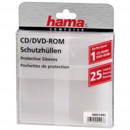 Detail produktu - Hama ochranný obal pro CD/DVD, 25ks/bal, transparentní