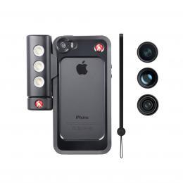 Detail produktu - Manfrotto MKLOKLYP5S, BUMPER   3ks objektivů   LED světlo pro iPhone 5/5s, barva černá