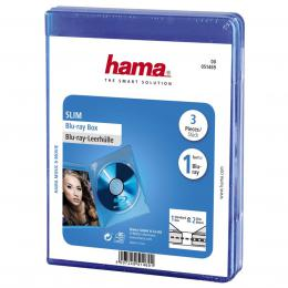 Hama blu-ray Disc Slim Jewel Case, 3 pcs./pack, blue