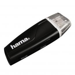 Detail produktu - Hama čtečka karet USB 2.0 SD/microSD, černá