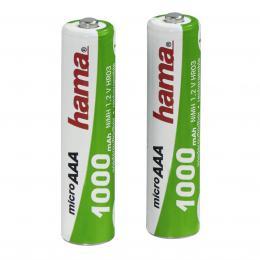 Detail produktu - Hama rechargeable NiMH Batteries, 2x AAA (Micro - HR03) 1000 mAh