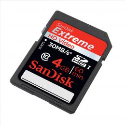 SanDisk Extreme SDHC 4 GB 30 MB/s class 10